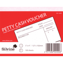 Silvine Petty Cash Vouchers 100 Sheets