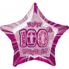 Prism Balloon Pink Age 100 Star