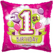1st Birthday Girl Foil Balloon