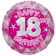 18th Pink Holographic Foil Balloon