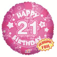 21st Pink Holographic Foil Balloon