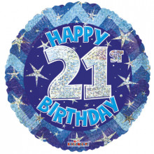 21st Blue Holographic Foil Balloon