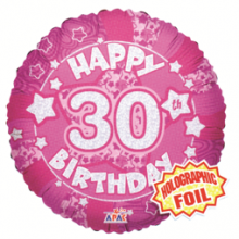 30th Pink Holographic Foil Balloon