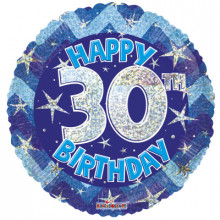 30th Blue Holographic Foil Balloon
