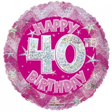 40th Pink Holographic Foil Balloon