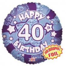 40th Blue Holographic Foil Balloon