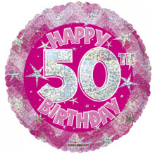 50th Pink Holographic Foil Balloon