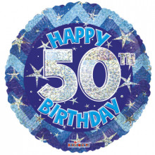 50th Blue Holographic Foil Balloon
