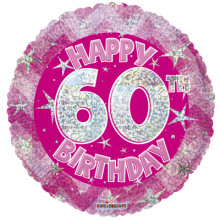60th Pink Holographic Foil Balloon