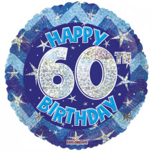 60th Blue Holographic Foil Balloon