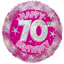 70th Pink Holographic Foil Balloon