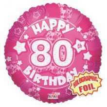80th Pink Holographic Foil Balloon