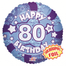 80th Blue Holographic Foil Balloon