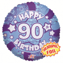 90th Blue Holographic Foil Balloon