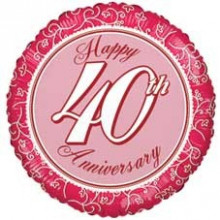Happy 40th Anniverary Foil Balloon