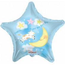 Congrats Baby Boy Star Foil Balloon