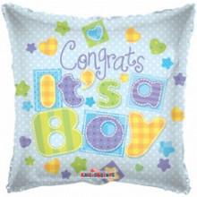 Congrats Baby Boy Pillow Foil Balloon