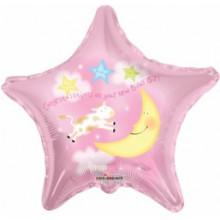 Birth Congrats Girl Star Foil Balloon