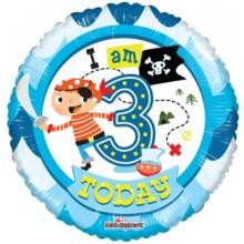 Foil Balloons Age 3 Blue