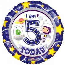 Foil Balloons Age 5 Blue