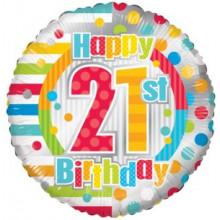 Happy 21st Spots Foil Balloon