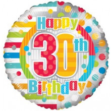 Happy 30th Spots Foil Balloon