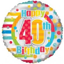 Happy 40th Spots Foil Balloon