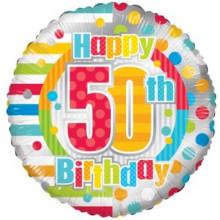 Happy 50th Spots Foil Balloon