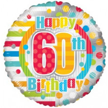 Happy 60th Spots Foil Balloon