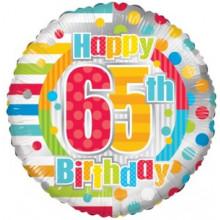 Happy 65th Spots Foil Balloon