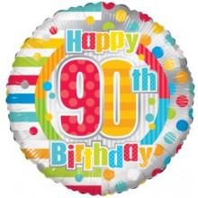 Happy 90th Spots Foil Balloon