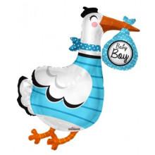 Baby Boy Stork S/Shape Foil Balloon