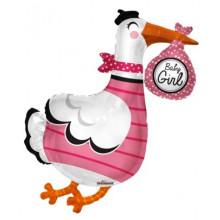 Baby Girl Stork S/Shape Foil Balloon