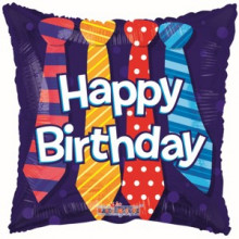 Happy Birthday Ties Foil Balloon
