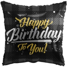 Happy Birthday Black Pillow Foil Balloon