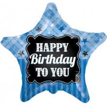 Foil Balloons Happy Birthday Blue Star