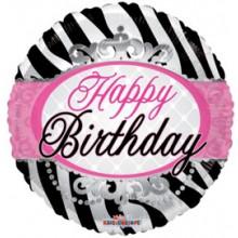Foil Balloons Happy Birthday Pink Stripe