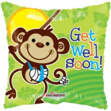 Get Well Soon Monkey Square Foil Balloon
