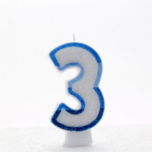Blue Numeral 3 Candle CN1013