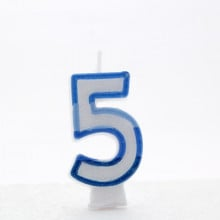 Blue Numeral 5 Candle CN1015