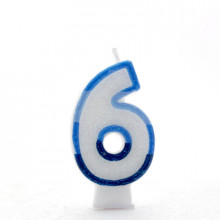Blue Numeral 6 Candle CN1016