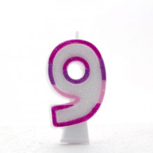 Pink Numeral 9 Candle CN1029