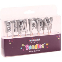 Happy Birthday Candles Silver