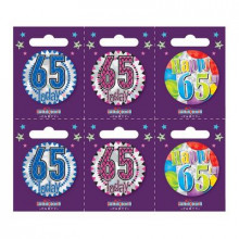 Age 65 Unisex 55mm Small Badges