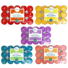 Scented Coloured Tea Lights Candles 15 Pack