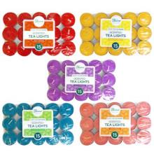 Scented Coloured Tea Lights Pack 15