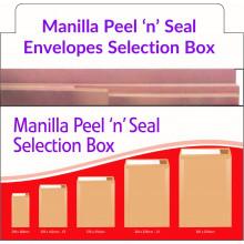 Heavy Duty 250 Manilla Envelopes Peel & Seal Selection Box