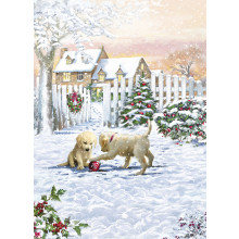 Open Dogs 40 Christmas Cards  - Cards are printed with Christmas Greetings in Gold Foil