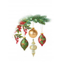 Open Fem Trad 40 Christmas Cards  - Cards are printed with Christmas Greetings in Gold Foil