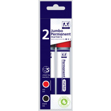 Jumbo Chisel Tip Markers Pack 2 Blk/Red